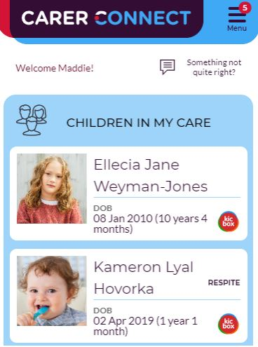 An illustration of what the update to the Carer Connect app looks like when featuring short break placements.